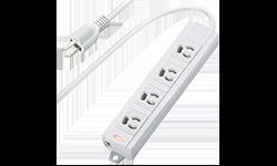 電源タップ 3P-4個口 一括スイッチ(3P→2P変換アダプタ付) 3m